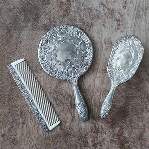 Vanity Set Vintage Silver Plated Mirron Comb Brush